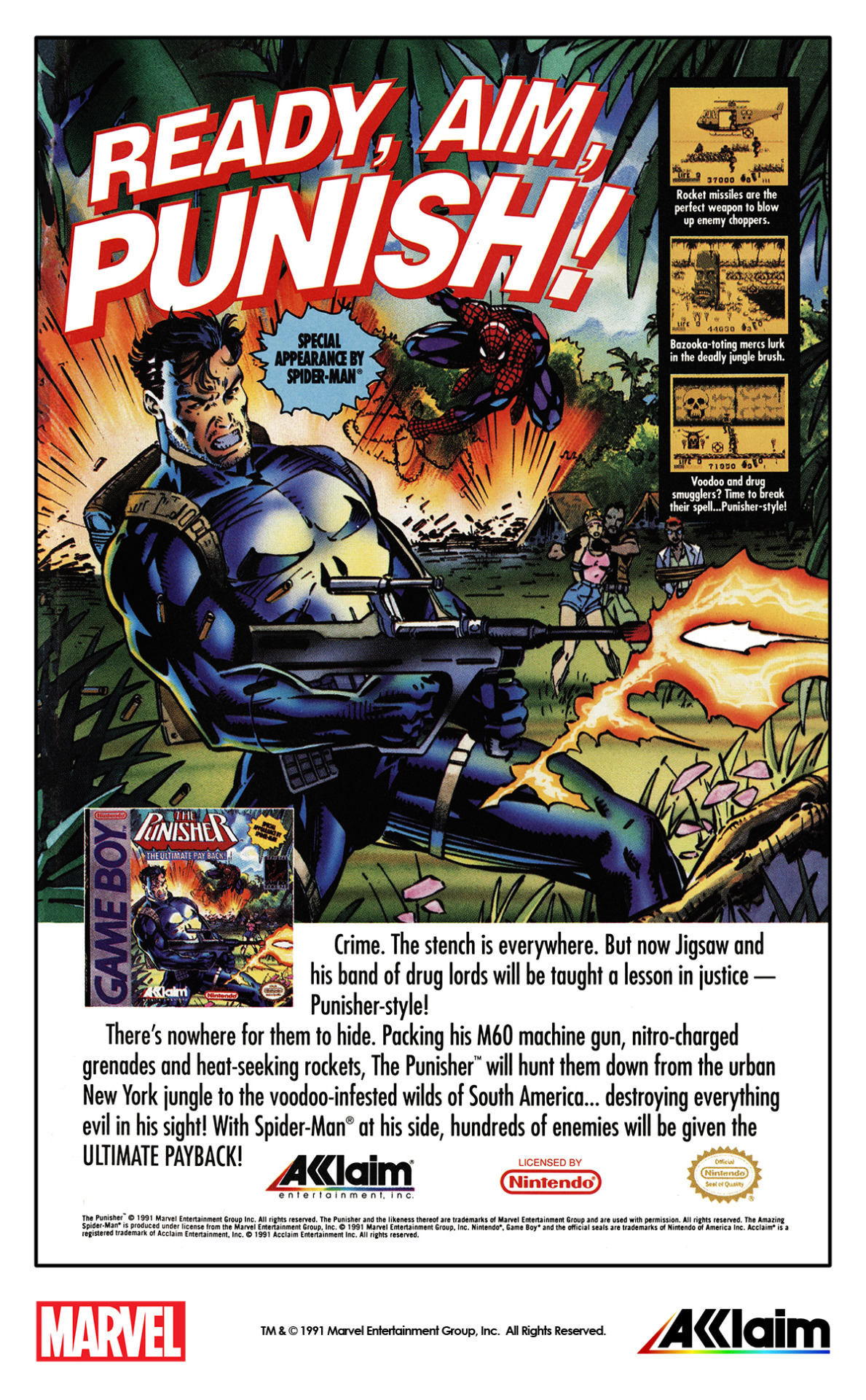 Acclaim Entertainment ad for The Punisher video game for the Nintendo Game Boy (1991) #marvel comics #marvel video games #the punisher#spider-man#acclaim entertinment#nintendo #nintendo game boy #marvel 1990s#marvel 1991