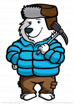 (via Mountain Climber Polar Bear Cartoon Character – Polarthemes | Coghill Cartooning)
