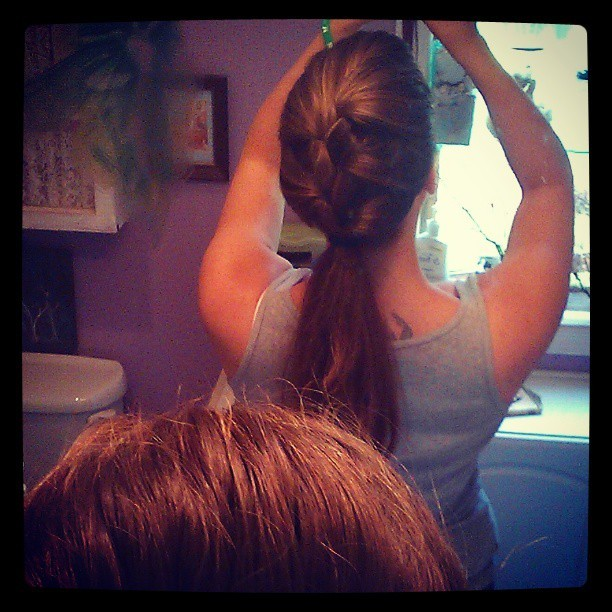My first attempt at a French braid. Looks pretty good to me!#hair#proud