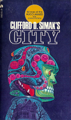 Cover to City (1952; 1973 Mass Market Paperback Ed.), Clifford D. Simak; artist unknown.