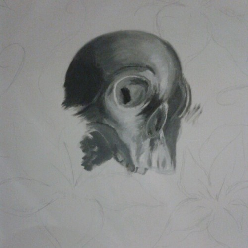 turning into a right mess #painting #skull #blackandwhite this  #sucks