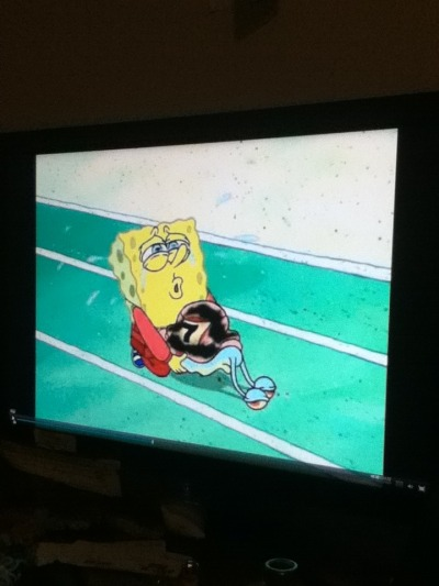So my boyfriend and I were watching spongebob and we paused it and this happened