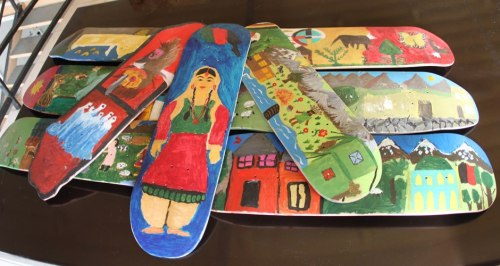 sunnnyali:  Skateboards created and painted by Afghan skater kids via Skateistan