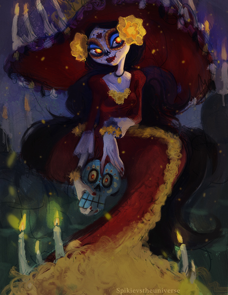 spikievstheuniverse:  La Muerte by Spikie Go see the book of life!!!! go now!!!!  La Muerte was my favorite character design, but the whole movie is gorgeous!!! - Spikie  wife
