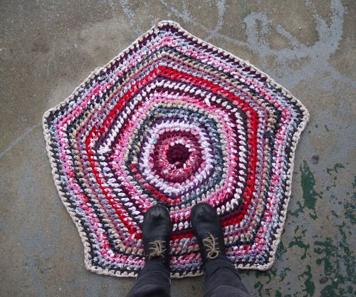 """Hard Candy"" Crocheted Pentagon Rag Rug~ in my shop (sockmonster.etsy.com)"