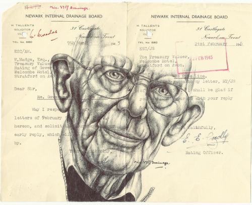 markpowellartist:  Bic Biro drawing on 1945 government documents