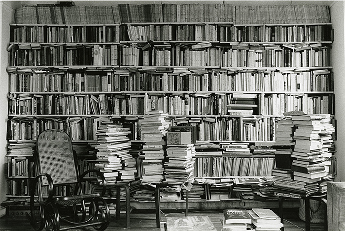 anthologyfilmarchives:  Babette Mangolte, Annette Michelson's Bookshelves on the Upper West Side in 1976, 1976