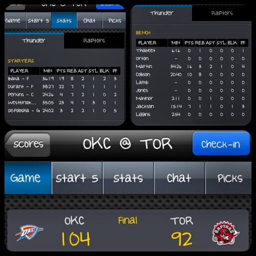 26-7 one more win for my boys #OKC #KD & look at collison getting some baskets in ooohkayyy  nickkk! Lmao