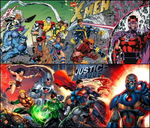 New 52 Justice League in the style of the 1st issue X-Men gatefold cover.