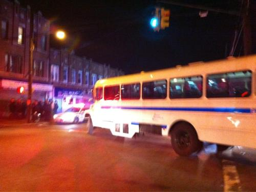 anarcho-queer:  A prison bus full of riot police just arrived at the Brooklyn protest. On the left side of the photo, you can see a dozen riot police already stationed across the street from the candlelight vigil.