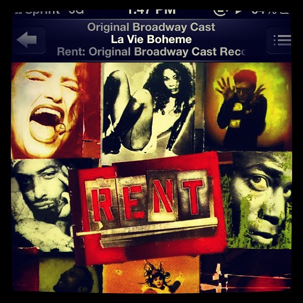 Currently listening to. #rent #lavieboheme #broadway