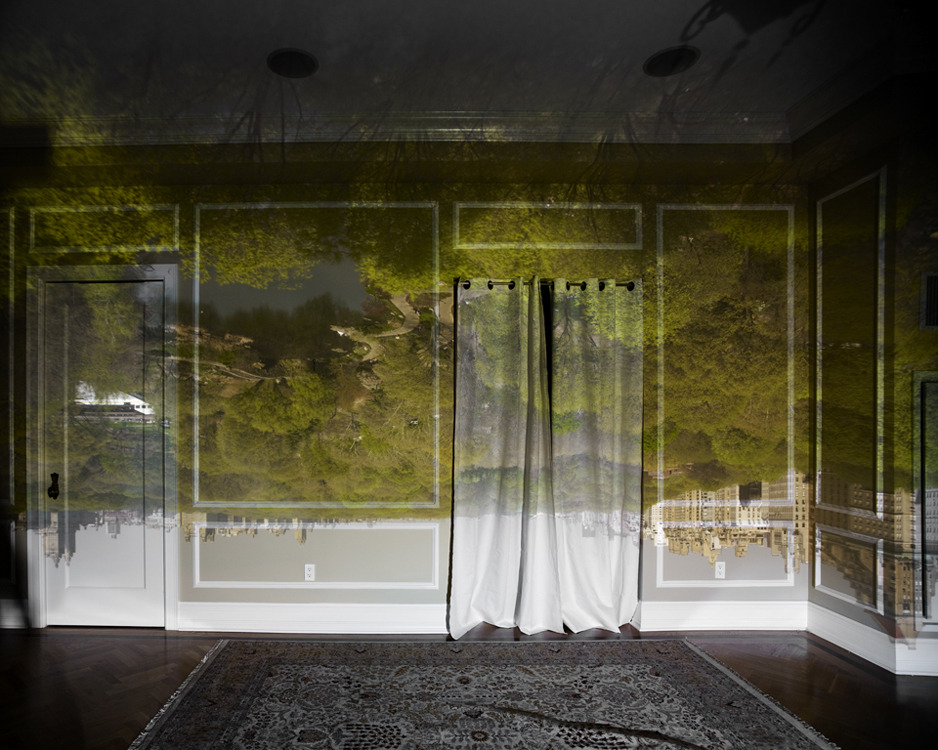 "devidsketchbook:  CAMERA OBSCURA BY  ABELARDO MORELL Photographer Abelardo Morell - ""I made my first picture using camera obscura techniques in my darkened living room in 1991. In setting up a room to make this kind of photograph, I cover all windows with black plastic in order to achieve total darkness. Then, I cut a small hole in the material I use to cover the windows. This opening allows an inverted image of the view outside to flood onto the back walls of the room. Typically then I focused my large-format camera on the incoming image on the wall then make a camera exposure on film. In the beginning, exposures took from five to ten hours"". [see more]"
