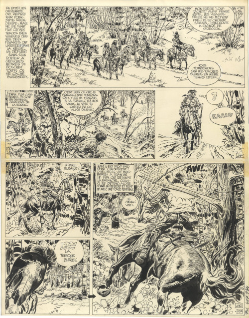 An original page from Lieutenant Blueberry: Mission to Mexico, the last of the Fort Navajo installments, written by Jean-Michel Charlier. Published in Pilote no.467(October, 1968).