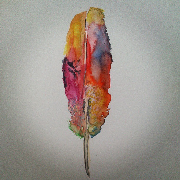 #feather #colour #painting #watercolour #red #pink #yellow #pretty #art Painted for Gabriel :)