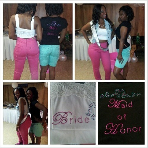 @mrsbrittneyj and I during the bachelorette party. The shirts she had made were super cute.