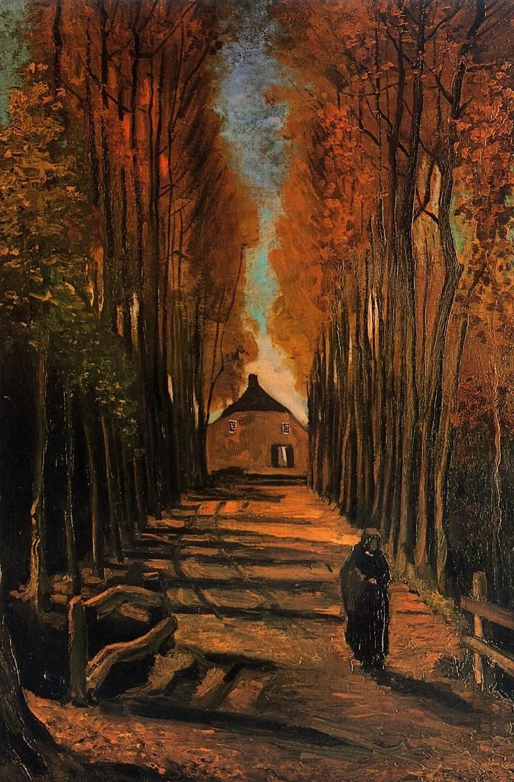 dreamyeyed:  Avenue of Poplars at Sunset [1884]Vincent Van Gogh