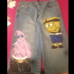 shorts for the boy #thuggishcartoons #painteddenim #thugbob #patrickhigh #slightwork #azariahstyles #mensdenim