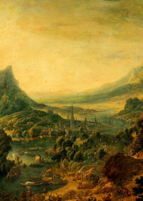 art painting landscape nature church History river baroque oil painting detail art history 17th century art detail landscape detail