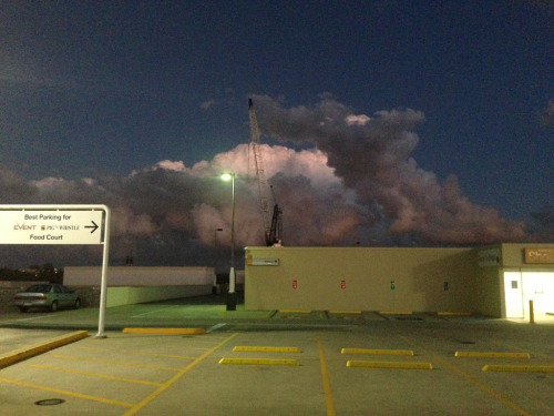 Cloud over carpark, post sunset, Indooroopilly