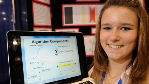 "wired:  motherjones:  kqedscience:  Teen Develops Computer Algorithm to Diagnose Leukemia ""Brittany Wenger isn't your average high-school senior: She taught the computer how to diagnose leukemia. The 18-year-old student from Sarasota, Fla. built a custom, cloud-based ""artificial neural network"" to find patterns in genetic expression profiles to diagnose patients with an aggressive form of cancer called mixed-lineage leukemia (MLL). Simply put, this means Wenger taught the computer how to diagnose leukemia by creating a diagnostic tool for doctors to use.""  Rock.  Eff. Yes. This girl is such a bad-ass."