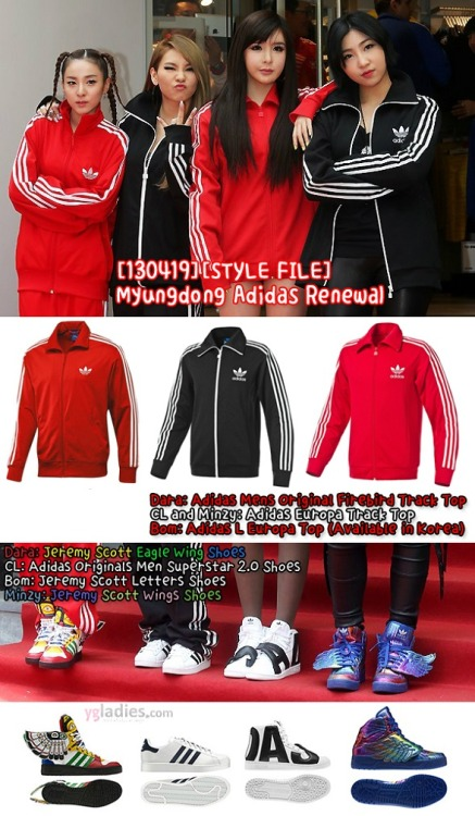 [130419][STYLE FILE] Spotted: 2NE1 Add Chic Aura to Tracksuits at Adidas Renewal Event Leave it to 2NE1 to make even standard Adidas tracksuits look like high fashion. Last Friday, 2NE1 attended a special fan event at the 1st Adidas Store in Myeongdong, to celebrate the store's grand reopening as the largest flagship store in South Korea. As expected, the girls were decked out in head-to-toe Adidas. Instead of the more avant-garde pieces in the Adidas arsenal of clothes, the girls decided to stick with the tried and true adidas Originals TrackSuits with the classic 3-stripe design. 2NE1 chose to add some diversity though in their footwear choices. Running the gamut from simple black and white designs on CL and Bom, to the more outrageous footwear donned by Dara and Minzy. The outfit was the perfect fit for the event, as the girls completed different activities, including running on treadmills and some nutty dancing.  For more photos from the event CLICK HERE or for news clips CLICK HERE. Source: adidas Image credit: kristinekwak@ygladies.com Article by staff@ygladies.com