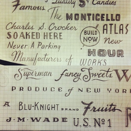 Lettering studies from old matchbooks and fruit crate labels. #lettering #drawing