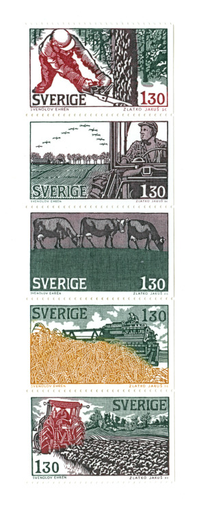 Timbres d'illustrations de Svenolov Ehrén, Suède. Stamps of illustrations by Svenolov Ehrén, Sweden.