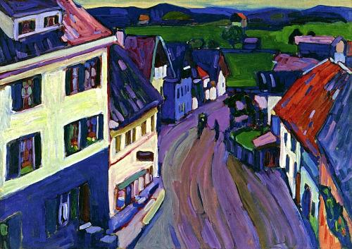 "В. Кандинский ""Мурнау - вид из окна в Гриезбау"", 1908"