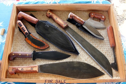 sumahi:  Tools made by my grandfather and me. On display at the Lunar Calendar Festival at the Guam Fishermen's Co-op.  My knife with the carabao horn handle will always be my favorite…