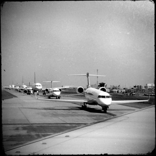 Traffic Jam! #dia #planes #jets #airport #taxiway #noirstagram
