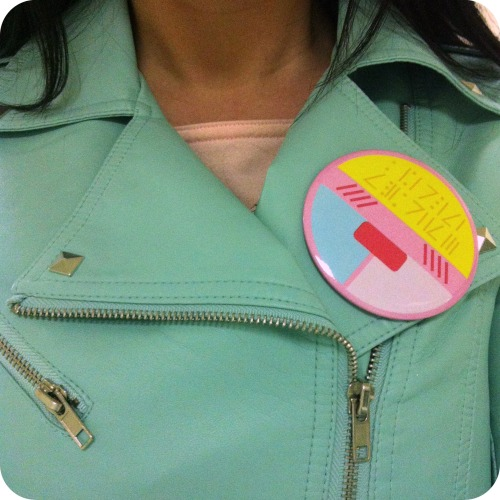 New(ish) things: mint motorcycle jacket (F21) & a Creamy Mami pin (Starlight Deco Dream) ♡
