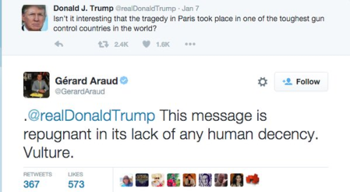 snafu-moofins:ggwookie:That reply to Donald Trump is from Gérard Araud, who is the French Ambassador to the United States, based in Washington DC.Gérard Araud is a hero.