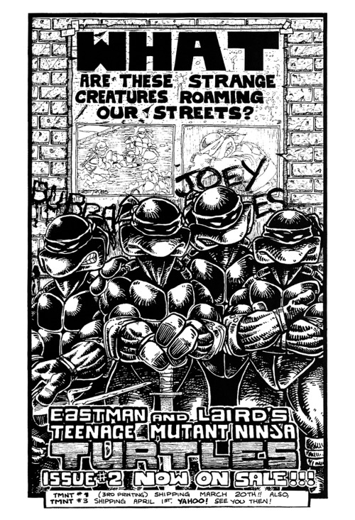 Promotional ad for Kevin Eastman & Peter Laird's Teenage Mutant Ninja Turtles #2. Art by Kevin Eastman, 1985.