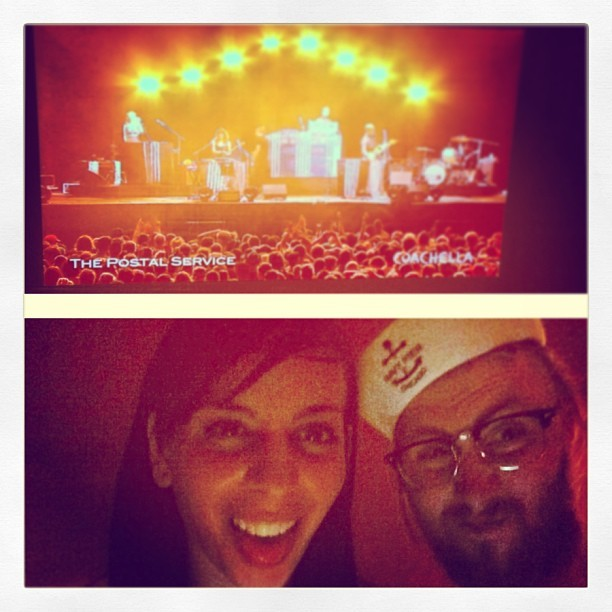 We half are at coachella and living emotions with The Postal Service. W/ @sachaleebear