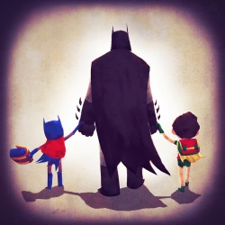 comicbookblog:  Andry Rajoelina's Justice Families series casts DC superheroes as the parents of their own little families, grabbing the hands of their now pint-sized sidekicks.