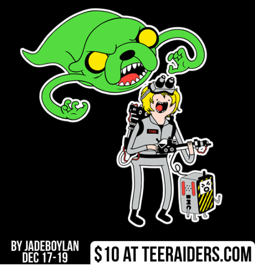 "teeraiders:  Today's tee is a unlikely mashup of Ghostbusters and Adventure Time! Be sure to grab ""Ghostbusting Time"" by jadeboylan for only $10 at TeeRaiders.com for the next 3 days!"