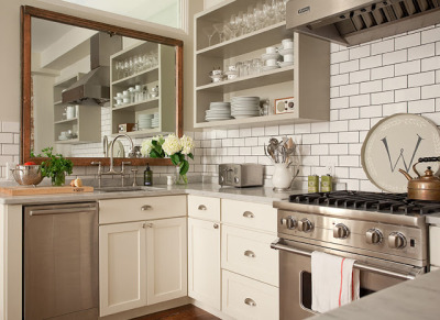myidealhome:  enlarge space with a mirror in the kitchen (via My Sweet Savannah)