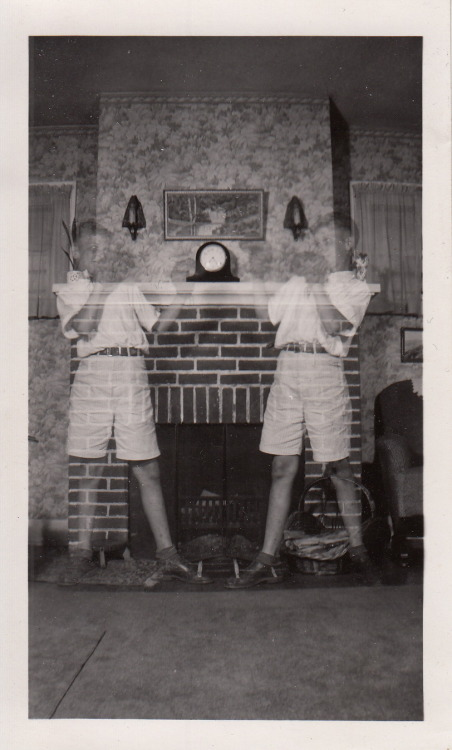 "Anonymous Snapshot circa 1930 Collection Jim Linderman  Untitles ""Ghost Boxers"" Original  Please Credit DULL TOOL DIM BULB"