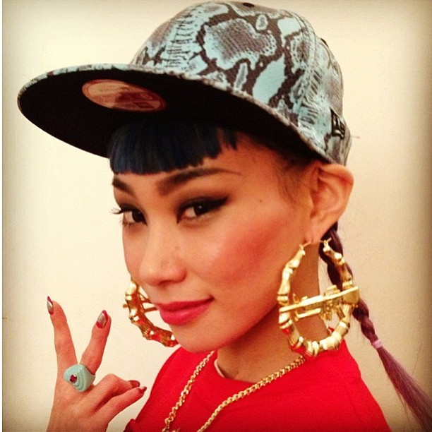 Mademoiselle Yulia rockin #MelodyEhsani x #JeremyScott M16 bamboo earrings #MExJS #gold #love  (at Melody Eh$ani Store)