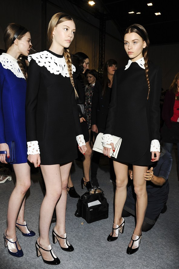suicideblonde:  Backstage at Valentino RTW Fall 2013