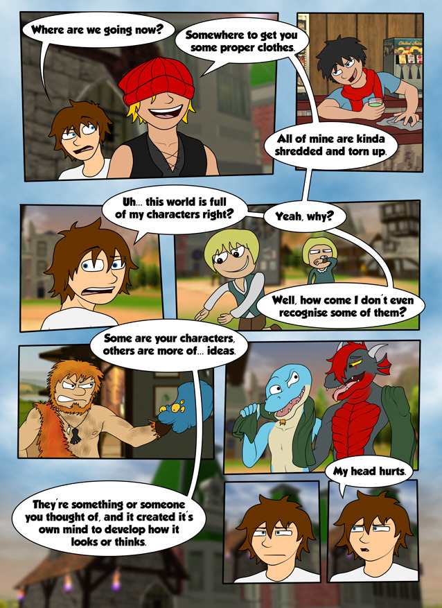 DrawnOut: Chapter 3 Page 1 Drawn takes Jace on a small tour of The Hub on the way to getting him a new outfit. Featured Characters:Lance by DarkDesiresWithinMax by JunglefooterZerr by ZerrXanthus by Xanthus Wish to have your character featured? Simply email drawnoutcomic@live.com or visit The DrawnOut Store
