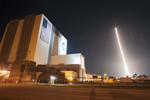 "kqedscience:  NASA Photos Capture Dazzling Nighttime Rocket Launch ""A series of long-exposure rocket launch photos released overnight by NASA show the unmanned Atlas 5 booster carrying the agency's new Tracking and Data Relay Satellite K (TDRS-K) as a bright arc of light climbing spaceward from a pad at Florida's Cape Canaveral Air Force Station. The rocket lifted off at 8:48 p.m. EST (0148 Jan. 31 GMT), rising like an artificial sun as it flew into space."""
