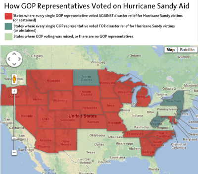 motherjones:  MAP: In these 22 states, every House Republican voted against Sandy aid.  This two-party crazy system has to change, right?