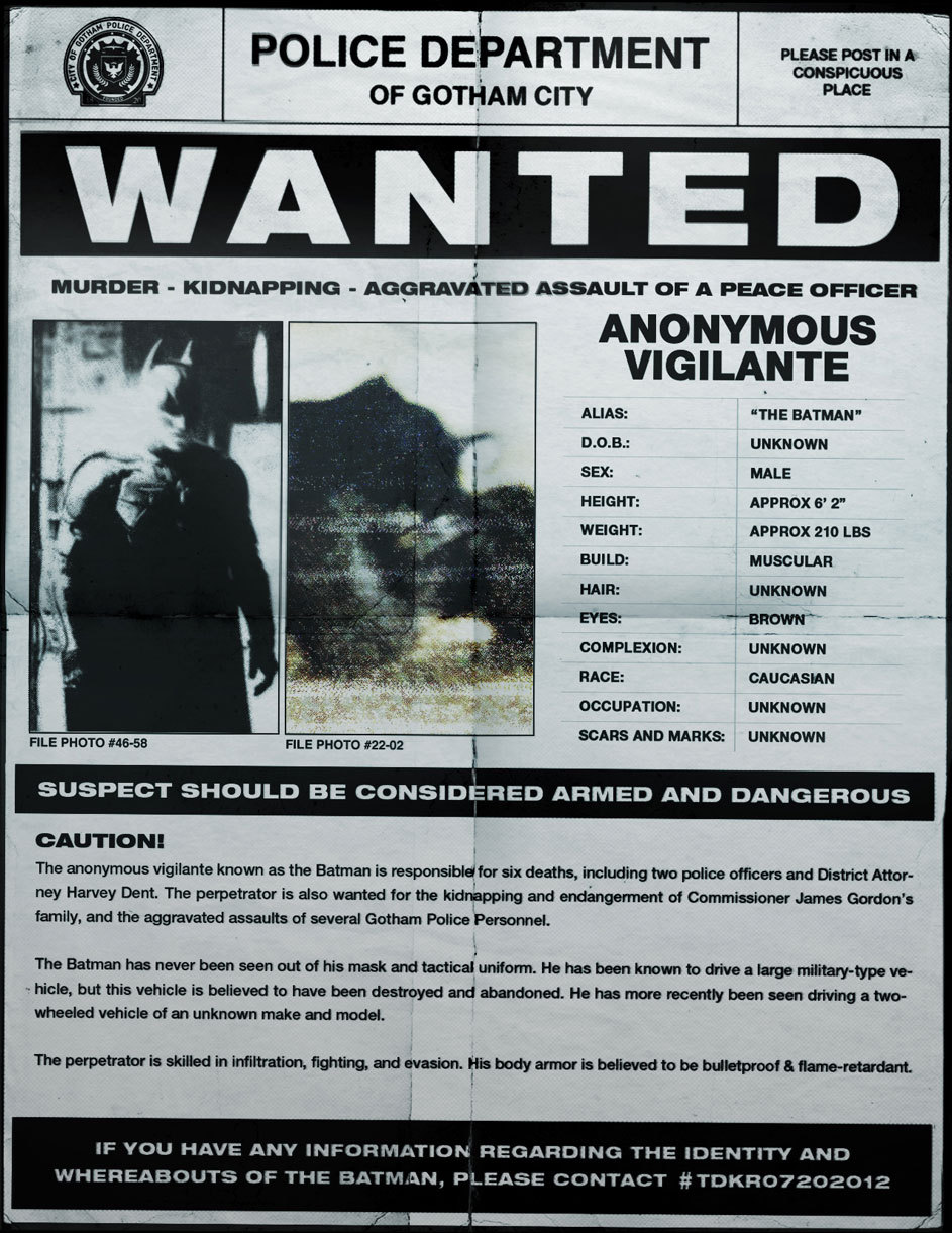 flying-blades:  THE DARK KNIGHT WANTED POSTER