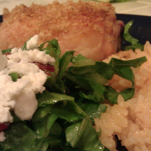 Oven roasted chicken, red rice, Bacon & Feta salad, boom! Dinner….Again!