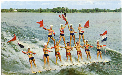 "oldflorida:  On this day in 1943, the first ski show was held at Cypress Gardens. Several soldiers saw a local newspaper photo of a water skier and showed up the next day to see the ""water show,"" although the park did not have a show. Julie Pope, wife of Dick Pope, rounded up her children and friends to stage the park's first water ski show. Soon, Cypress Gardens was dubbed the ""Water Ski Capital of the World."" Cypress Gardens was bought by Legoland in 2011. thereturnofskeezywizbang:  Florida's Fabulous Cypress Gardens on Flickr. Cypress Gardens, FL"