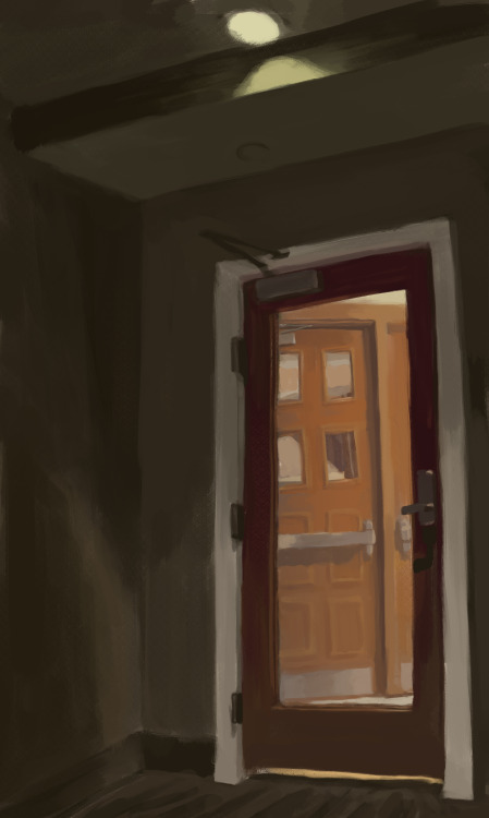 Moar digital painting practice! Wash U's Lopata common room. I wanted to make the lighting dramatic. I think I should have played with colors more but wasn't sure what to do. i'd love some painting advice if anyone has any to share.   /door inception