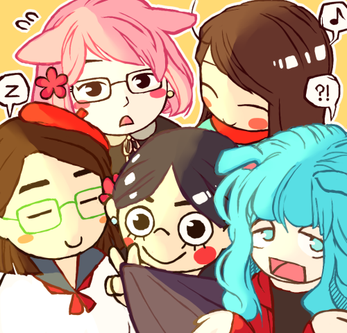 kittenmogu:  I drew the brotherhood because I appreciate you guys and you all are really cute thanks for tolerating me for this past school year this was the least lonely year of my life, despite the troubles I went through, and you guys were a big part of that! i'll really miss you when we leave RISD and part for the summer let's eat chipotle tonight uwu