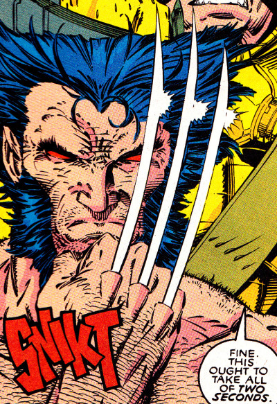 This is easily one of my Favorites. SNIKT. Wolverine by Jim Lee from X-Men #6 (March 1992)