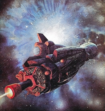 martinlkennedy:  Untitled painting by Bob Layzell from Harry Harrison's book 'Mechanismo' (1978)